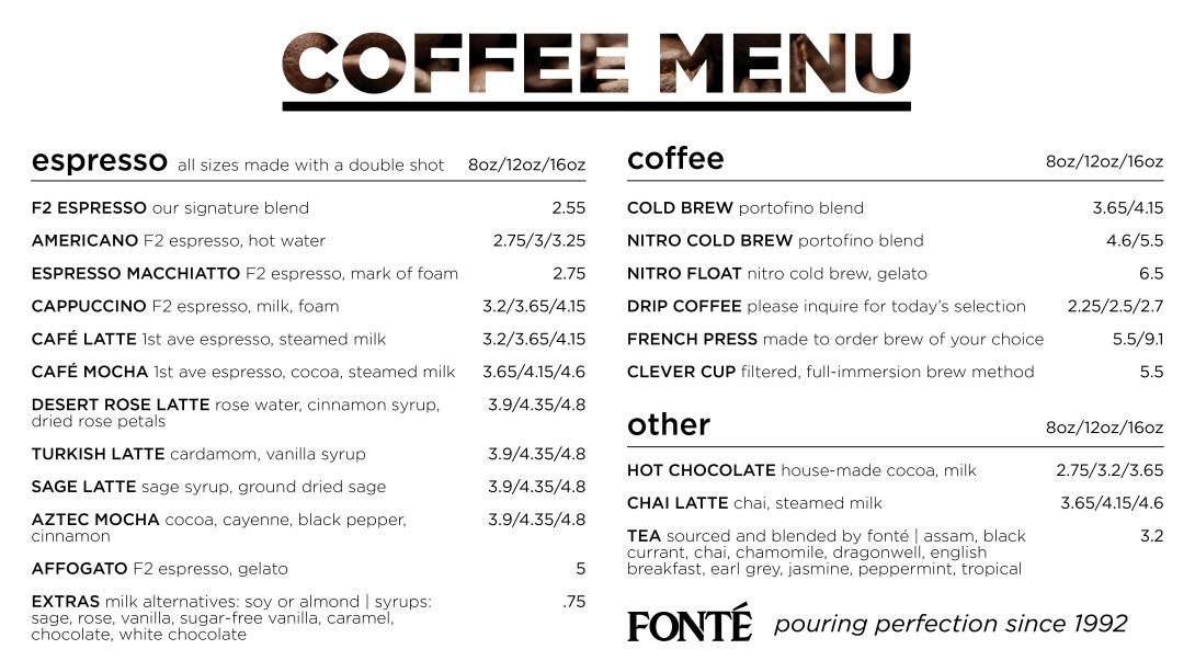 Seattle Digital Menu Coffee